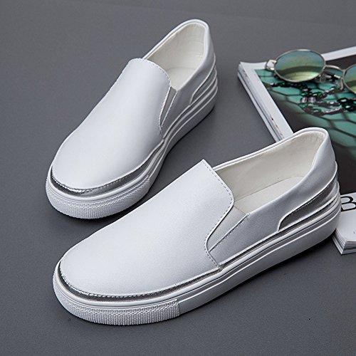 Mocassins Chaussures Pour Femmes - Slip Décontracté Sur Bout Rond Plateforme Confortable Penny Blanc