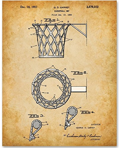 Basketball Net Patent - 11x14 Unframed Patent Print - Great Gift for Basketball Fans, Basket Ball Players or Boy's Room (Homemade Basketball Hoop)