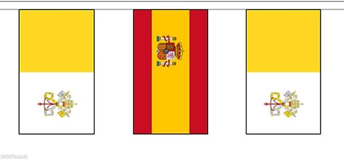Ciudad del Vaticano Iglesia Católica y España Bandera de poliéster banderines de 10 m (33)  banderines con 28 banderas: Amazon.es: Hogar
