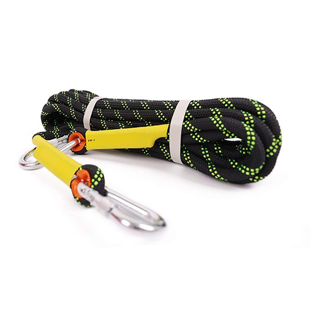 Escalade Corde Corde Statique, diamètre 10.5mm de Polyester de Corde d'escalade à Faible élasticité pour la spéléologie et Le Sport - Vert