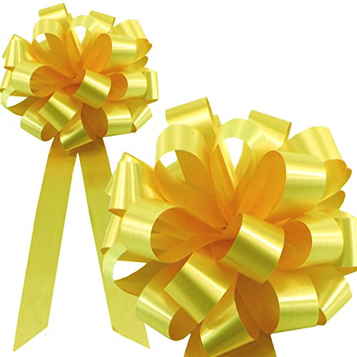 Daffodil Yellow Pull Bows with Tails - 8