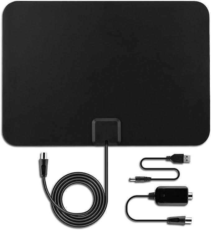 Antena TV Interior Portátil, VICTSING Amplificador Antena TV Digital, 80KM Gama de Recepción, 3M Cable Alto Rendimiento,Ultra Delgado Amplificador de ...