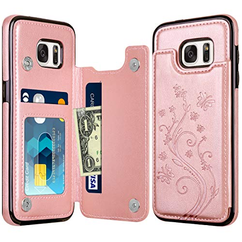 HianDier Wallet Case for Galaxy S7 Edge Credit Card Slot Holder Flower Pattern Slim Protective Case Flip Folio Soft PU Leather Magnetic Closure Cover Case for Samsung Galaxy S7 Edge, Rose Gold (Best Wallet Case For Galaxy S7 Edge)