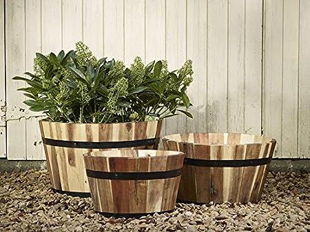 Conjunto de jardín rústico 3 grandes maceteros redondos de Acacia: Amazon.es: Hogar