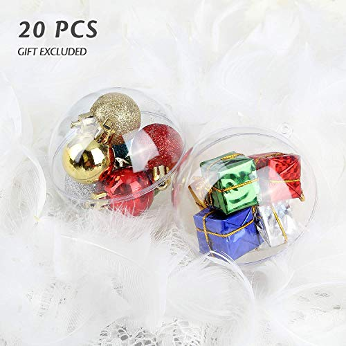 Uten 20Pcs DIY Ornament Balls Christmas Decorations Tree Ball 3.94/100mm Clear Fillable Baubles Craft Years Present Holiday Wedding Party Home Decor