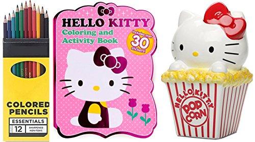 Hello Kitty Popcorn Ceramic Bank Figure & Sanrio Hello Kitty Coloring, Activity, & Sticker Book + Colored Pencils