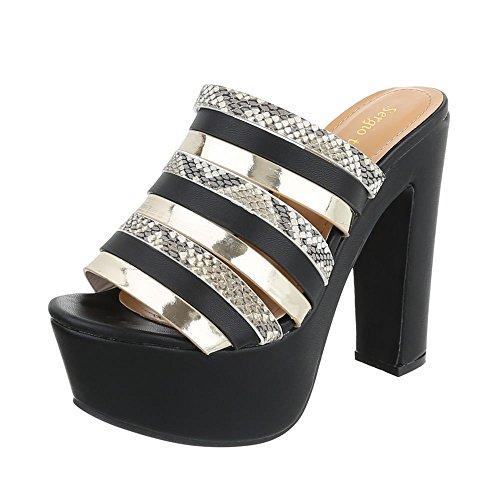 femme compensées Ital chaussures Noir Design YpxYfqtw
