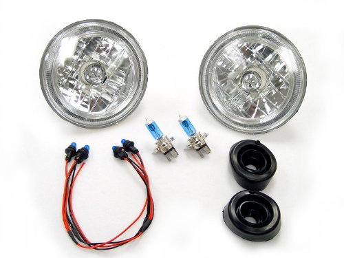 7 Inch Round Diamond Cut Sealed Beam Halo Headlights Conversion Kit H6024/H6014 Beam Headlight Conversion Diamond Cut