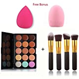 ArRord 4PCS Face Powder Brushes + 15 Colors Classic Contour Face Cream Makeup Concealer Palette With Free Foundation Puff Sponge And Brush Egg