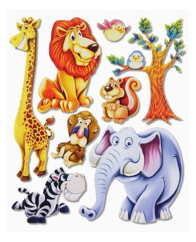 502 Wall Tattoo Sticker 3D XXL for Children's Rooms Cute African Jungle Animals with Lion / Giraffe / Elephant / Zebra / Tree for Walls / Windows / Cupboards / Doors on Sheet Stickerkoenig / Skins4u