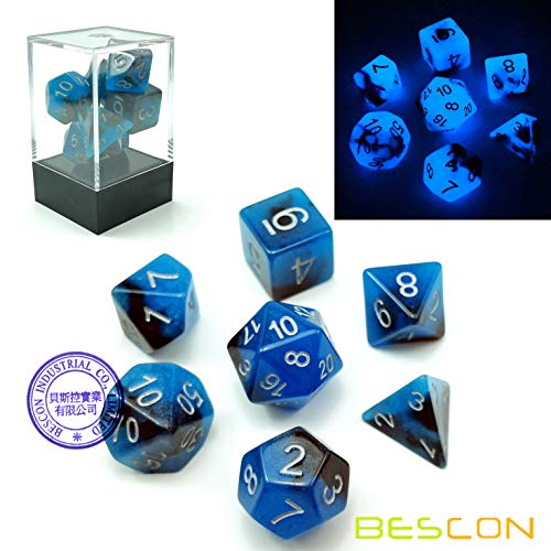 Bescon Two-Tone Glow-in-the-Dark Polyhedral Dice Set BLUE DAWN, Luminous RPG Dice Set d4 d6 d8 d10 d12 d20 d% Brick Box Pack
