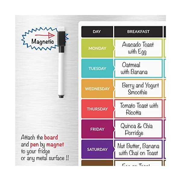 CKB Ltd Meal Diet Planner | Food Prep Nutrition Fitness Magnetic Refrigerator Board With Pen A3 Dry Wipe Magnet Whiteboard Kitchen Weekly Daily Ideal For Planning Family Meals Bodybuilding And Dieting 51e2Z3XBWtL