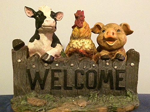Resource Revival Cow Rooster Pig Welcome Sign