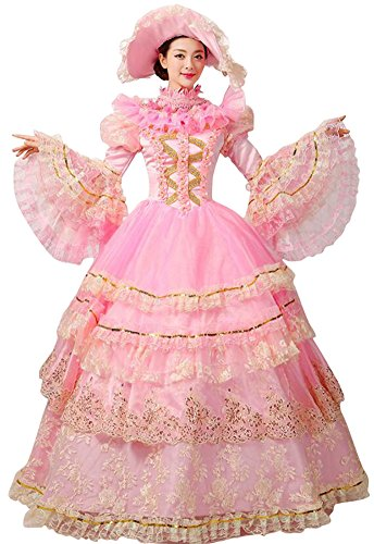 FENIKUSU Women's Gothic Victorian Fancy Dress Prom Palace Masquerade Ball Gown Costume (XXXL, Dress With 3hoops Petticoat)]()