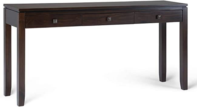 Amazon Com Simplihome Cosmopolitan Solid Wood 60 Inch Wide Contemporary Modern Wide Console Sofa Entryway Table In Mahogany Brown With Storage 3 Drawers For The Living Room Entryway And Bedroom Furniture Decor