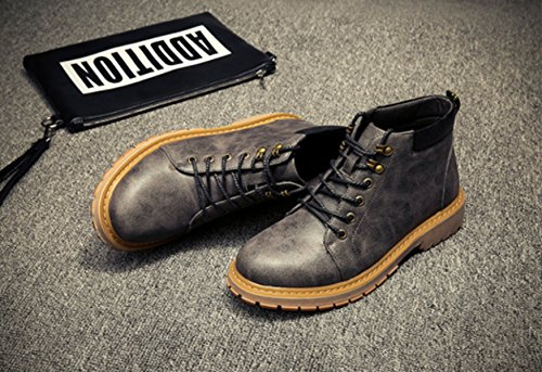 Autumn Sports Shoes Career Leather Genuine Winter Office Tooling Men's Boots Grey Martin Retro 2017 Casual O1fxvqwF