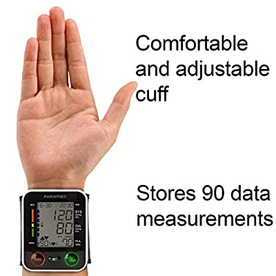 Automatic Wrist Blood Pressure Monitor by Paramed:Blood-Pressure Kit of Bp Cuff + 2AAA and Carrying case - Irregular Heartbeat Detector & 90 Readings Memory Function & Large LCD Display