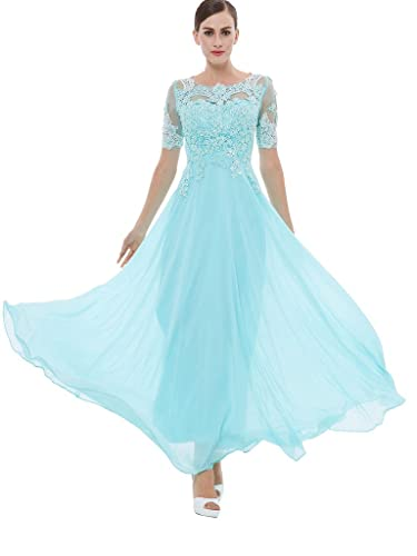 Sisjuly Women's Beaded Short Sleeves Lace Appliques Chiffon Long Prom Dress