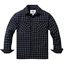 WenVen Mens Plaid Flannel Button-Down Shirt Jacket