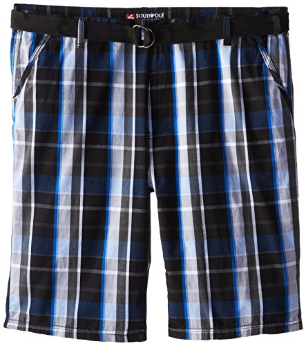 Southpole Men's Big-Tall Washed Plaid Shorts with Plaids and Matching Belt, Black, 48
