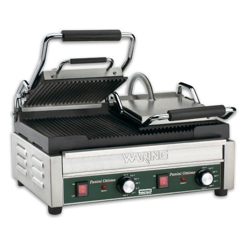 Waring Commercial WPG300T Dual Grooved Panini Grill with Timer, 240-volt