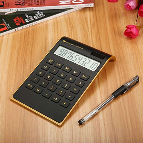 Calculator Caveen Business Calculator Electronic Solar Dual Powered Calculator for Desktop 10 Digits Standard Function Financial Calculator Black