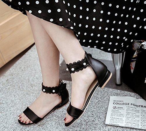 Noir Perles Femme Bal Fille Mignon Cheville Aisun Noeud Sandales wan48xd6q