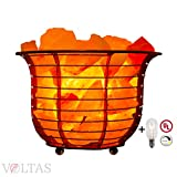 Voltas Salt Lamp Basket consists of Premium Salt Crystals, a Dimmer control switch, 6ft UL listed cord and two 15W bulbs one for the Basket Salt lamp and one as a FREE spare replacement.