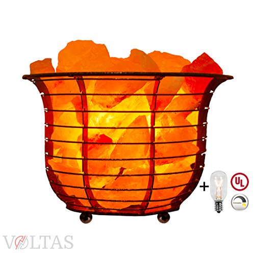 Voltas Salt Lamp Basket consists of Premium Salt Crystals, a Dimmer control switch, 6ft UL listed cord and two 15W bulbs one for the Basket Salt lamp and one as a FREE spare replacement. (Basket Lamp Shade)
