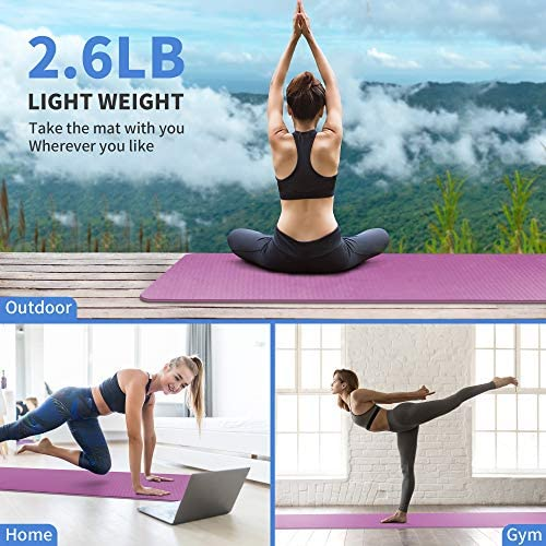 "CAMBIVO Extra Wide Yoga Mat for Women and Men (72""x 32""x 1/4""), Eco-Friendly SGS Certified, Large TPE Exercise Fitness Mat for Yoga, Pilates, Workout"