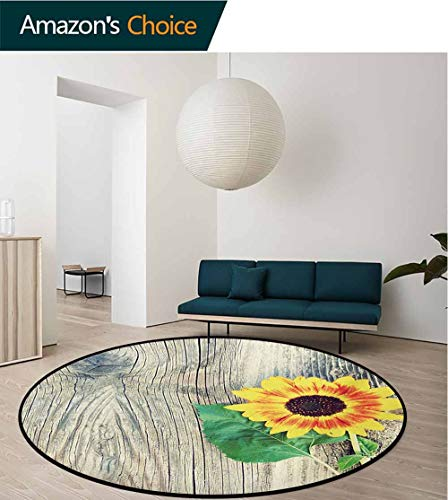 - RUGSMAT Sunflower Machine Washable Round Bath Mat,Sunflower On Wooden Old Board Bouquet Floral Mother Earth Artsy Photo Non-Slip No-Shedding Bedroom Soft Floor Mat,Diameter-63 Inch