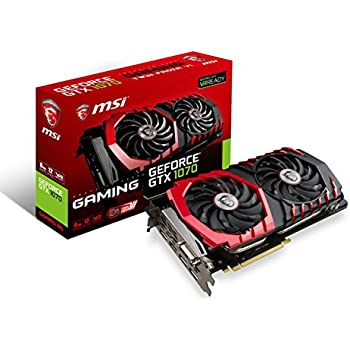 MSI Gaming GeForce GTX 1070 8GB GDDR5 SLI DirectX 12 VR Ready Graphics Card (GTX 1070 GAMING 8G)
