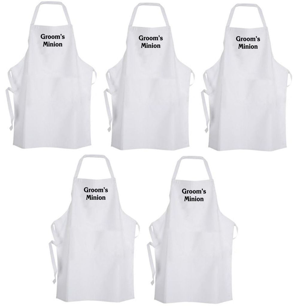 Set 5 Groom's Minion – Adult Size Aprons – Bachelor Party Groomsmen Wedding