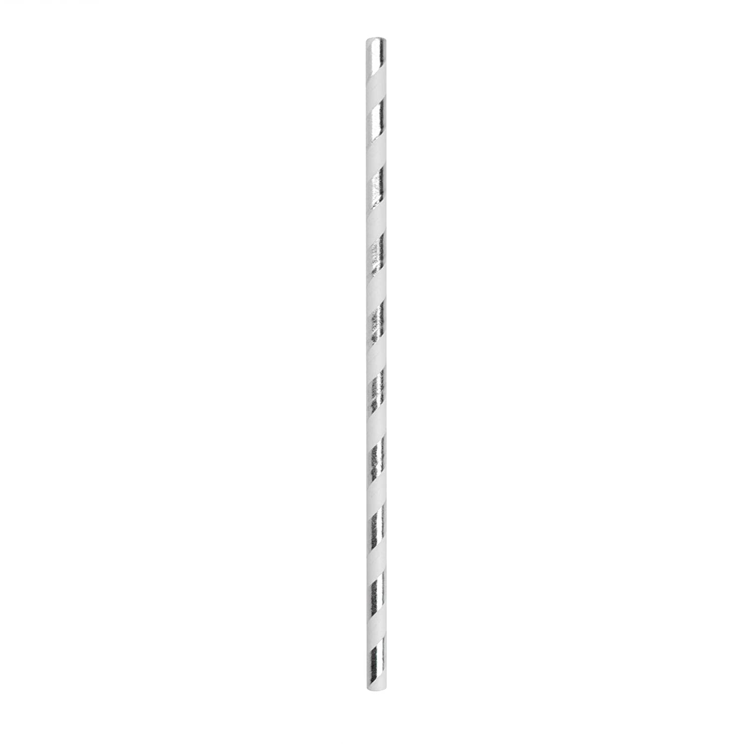 Rink Drink Biodegradable Paper Drinking Straws Environmentally Friendly Party Wedding Celebration Pack of 100 Silver and White