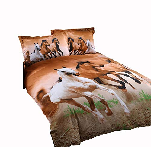 Price comparison product image Galloping Horse Bedding Sets, 100% Polyester 3d Bedding Sets, 4pcs with Duvet Cover, Bed Sheet, 2pillow Case (Comforter Not Included) Twin Size