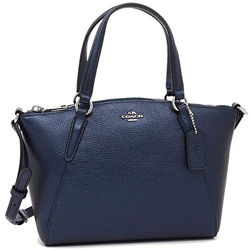 COACH MINI KELSEY SATCHEL IN METALLIC PEBBLE LEATHER , F22316, NAVY by Coach