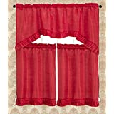 RT Designers Collection Bermuda Ruffle Kitchen Window Curtain, Red