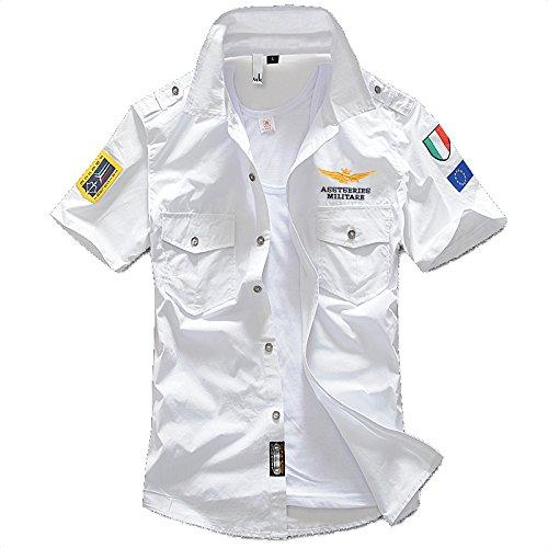 デモンストレーションバドミントン感謝する(NAIL39) カジュアルシャツ メンズ ゴルフウエア 半袖 シャツ Tシャツ ストリート ワッペン アーミー エンブレム 襟付き 普段着 ポケット 夏 重ね着 アウトドア