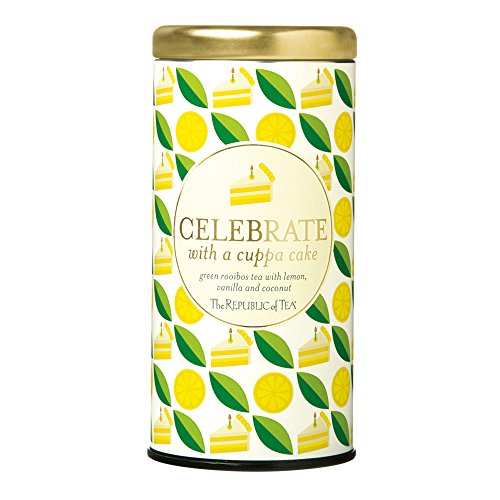 The Republic Of Tea Celebrate With A Cuppa Cake Tea, 36 Tea Bags, Gourmet Tea, Vanilla Lemon-Coconut Cake Tea Gift Tin