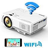 Jinhoo Mini WiFi Video Projector Update 4200 Lux, 1080P Supported 176'' Projector Size, 55000 Hours Lamp Lifetime, Also Compatible with HDMI, VGA, AV, USB