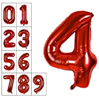 40 Inch Jumbo Red Number Balloon Giant Balloons Prom Balloons Helium Foil Mylar Huge Number Balloons for Birthday Party Decorations/Wedding/Anniversary