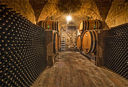 CSFOTO 5x3ft Background For Underground Wine Cellar Manor Photography Backdrop Old Cellar Storage Stacked Red Wine Taste Holiday Rest Relax Leisurely Time Photo Studio Props ()