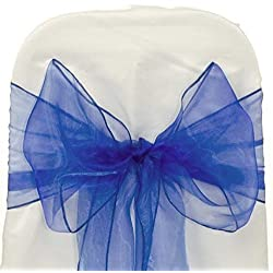 MDS 100 PCS Royal blue Organza Chair Sashes / Bows sash for Wedding or Events Banquet Decor Chair bow sash