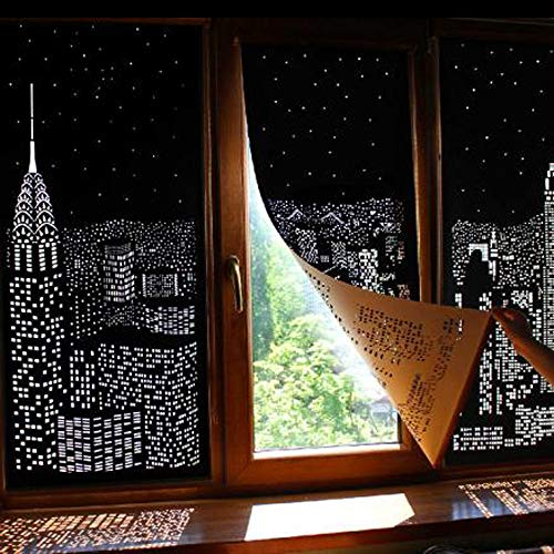 Efaster 1Pcs Thermal Insulated Blackout Curtains, Blackout Hole Curtains with Holes Incredible City Designs Curtain Bedroom (A)