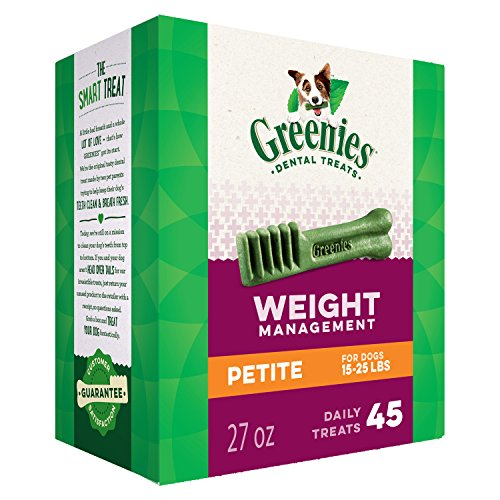 GREENIES Weight Management Petite Natural Dog Dental Care Chews Weight Control Dog Treats, 27 oz. Pack (45 Treats)