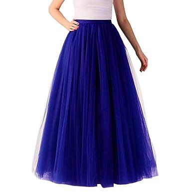 TianMeng Falda de Tul Larga para Mujer, línea A, Falda de Tul ...