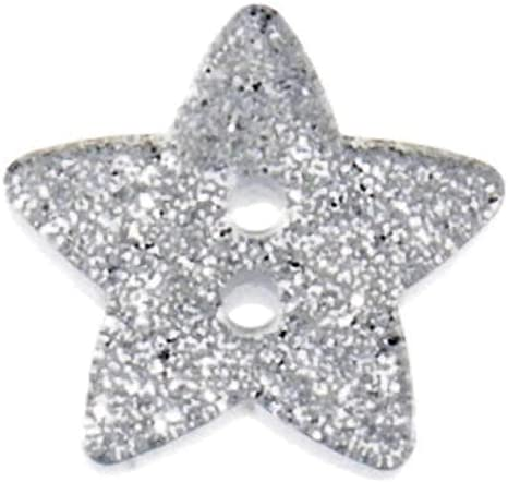 Volume Savings Free UK Postage Silver,5 Buttons Plush Addict Star Shaped Glitter Buttons Gold and Silver