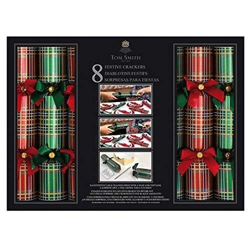 Tom Smith -Festive Red & Green Holiday Crackers - Pack of 8-13-1/2