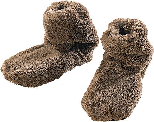 infactory Körnerpantoffeln: Aufwärmbare Flausch-Stiefel mit Leinsamen-Füllung, Größe 36-38 (Softe Hausschuhe für ofen und Mikrowelle)