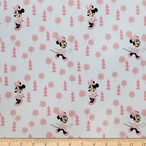 Eugene Textiles Mickey & Minnie Mouse Little Minnie in The Meadow Flannel fabric Pink, Fabric by the Yard ()